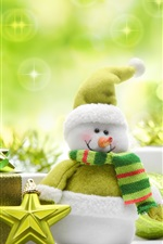 Preview iPhone wallpaper Snowman toy, green style, Christmas and New Year gifts