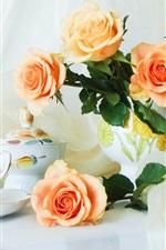 Preview iPhone wallpaper Still Life on the desktop, orange roses, cups, vase