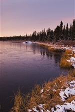 Preview iPhone wallpaper Sunset landscape, winter lake and trees
