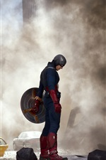 Preview iPhone wallpaper The Avengers, Captain America, The fierce fighting of the smoke