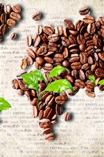 Preview iPhone wallpaper The coffee beans Creative art, world map