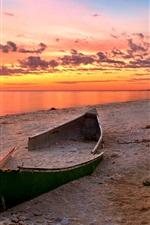 미리보기 iPhone 배경 화면 선셋 비치 (Sunset Beach)의 풍경, 바다, 깨진 보트, 붉은 구름