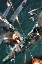 Preview iPhone wallpaper Warplanes and warships fierce fighting