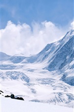 Winter snow-capped mountains, thick snow, white world