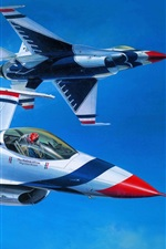 Preview iPhone wallpaper Art painting, air fighter aerobatics