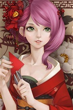 Preview iPhone wallpaper Beautiful kimono Japanese anime girl, pink hair, green eyes
