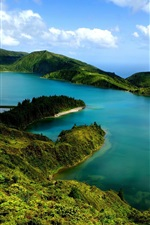 Preview iPhone wallpaper Beautiful landscape, hills, slopes, pond, lake, green, blue sky, clouds