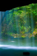 Preview iPhone wallpaper Beautiful scenery, waterfall, river, forest, rock