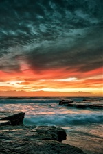 Preview iPhone wallpaper Beautiful sunset sea sky, stones, waves, dusk