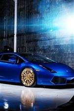 Blue color Lamborghini Gallardo supercar indoor
