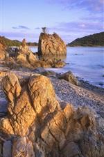 Caribbean side stones, sunset, sun, sea