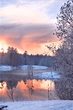 Preview iPhone wallpaper Cold winter, snow and ice season, trees, houses, ponds