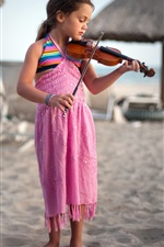 Preview iPhone wallpaper Cute little girl at the beach playing a violin