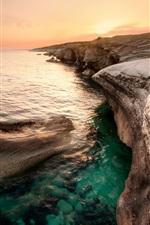 Preview iPhone wallpaper Cyprus beautiful scenery, sea, coast, orange sky, dusk sunset