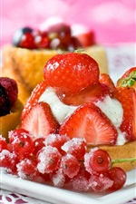 Preview iPhone wallpaper Delicious dessert cake, strawberry cherry berries
