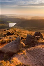 Preview iPhone wallpaper England, Manchester, beautiful landscape, mountains, sunset