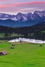 Preview iPhone wallpaper Germany Bavaria landscape, mountains alps, forest, grass, houses, lake
