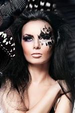 iPhone обои Девушка макияж, лицо, бабочки, Photoshop креативный дизайн