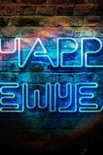 Preview iPhone wallpaper Happy New Year, blue neon