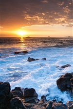 Preview iPhone wallpaper Hawaii ocean sunset, rocks, coast