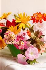 Home floral arrangements, table, teacup