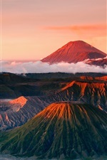 Preview iPhone wallpaper Indonesia, Java, Tenger volcano, mountains landscape, fog