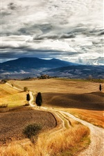 Preview iPhone wallpaper Italy Tuscany, walking paths, trees, hills, grass, sky, clouds