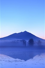 Preview iPhone wallpaper Japanese beauty of the early morning, lake and mountains, fog, trees, blue sky