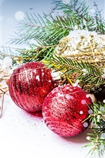 Preview iPhone wallpaper New Year Christmas ball pine branch decorative