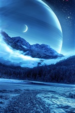 Preview iPhone wallpaper Pictures of beautiful creative design, forest, winter, planet, space