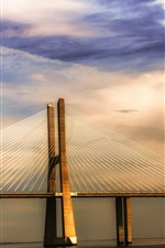 Preview iPhone wallpaper Portugal Lisbon river Tagus, bridge, sunset