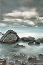 Preview iPhone wallpaper Sea stones clouds