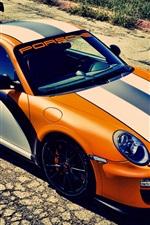 Sport Auto, Porsche 911 GT3, orange und weiße Farbe