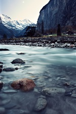 Preview iPhone wallpaper Switzerland, Lauterbrunnen, beautiful landscape, river, rocks, mountains, houses