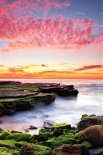 Preview iPhone wallpaper The red color of the sky, ocean, rocks, moss