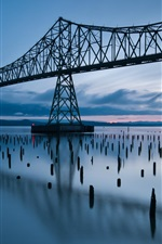 Preview iPhone wallpaper United States, Oregon, bridge, river, dusk, sunset, blue style