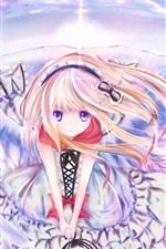 Anime girl wings, sky, flying, butterfly hairpin