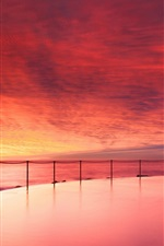 Preview iPhone wallpaper Australia ocean beach, pool, evening sunset, red sky, clouds