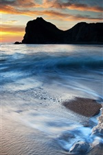 Preview iPhone wallpaper Beautiful HD coast landscape, sunset, rocks, sea, beach