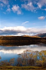 Preview iPhone wallpaper Beautiful New Zealand nature scenery, mountains, river, blue sky, grass