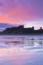Britânico castelo, costa, crepúsculo, pôr do sol, lilás, céu, nuvens