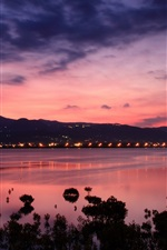 Preview iPhone wallpaper China, Taiwan, strait coast, dawn, sunrise, city lights, pink sky clouds