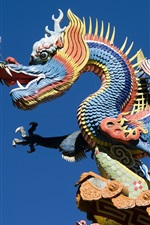 Preview iPhone wallpaper China building, dragon and phoenix carving art