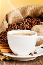 Cup of coffee, drink, coffee beans, cinnamon, saucer