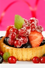 Preview iPhone wallpaper Delicious food, dessert cake, small berries, strawberry