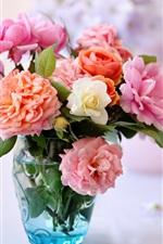 Preview iPhone wallpaper Desktop still life, roses, vase flower arrangement