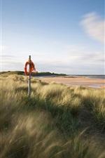 Preview iPhone wallpaper England sea coast scenery, sand beach, grass