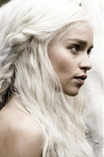 Preview iPhone wallpaper Game of Thrones, Emilia Clarke with horse, white hair