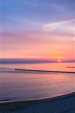 Preview iPhone wallpaper Lake, shore, sunset, dusk, purple sky views