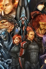 Preview iPhone wallpaper Mass Effect, game characters, art painting